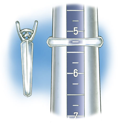 Close-up view of tapered band positioned on plastic ring mandrel to check ring size. In this illustration the tapered band is transparent so that the size is visible.