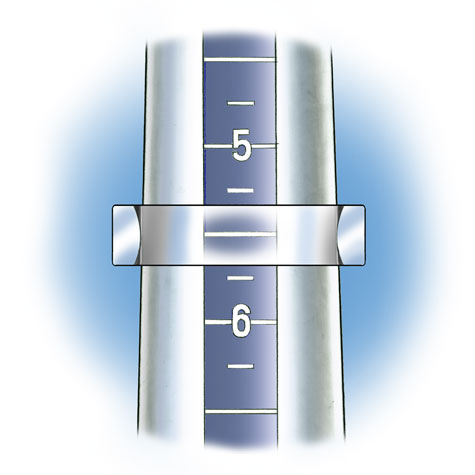 Close-up view of band with convex inside shank positioned on plastic ring mandrel to check ring size. In this illustration the band is transparent so that the size is visible.