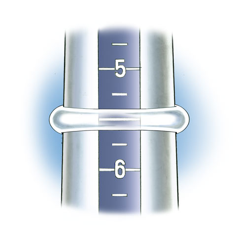 Close-up view of ring with open space between the top of the finger and the mounting, positioned on plastic ring mandrel to check ring size. In this illustration the band is transparent so that the size is visible.