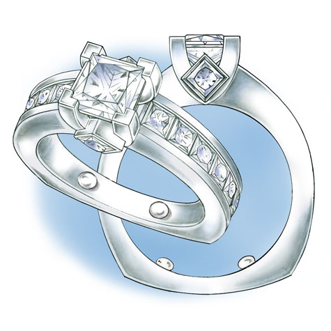 Perspective and side views of platinum solitaire with princess cut stones, featuring sizing beads at the 5 o'clock and 7 o'clock positions.