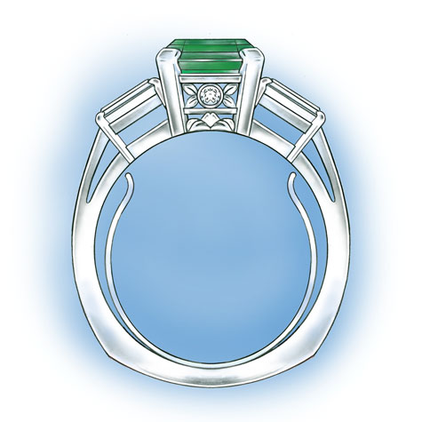 Platinum five stone ring, featuring a horseshoe-shaped spring insert.