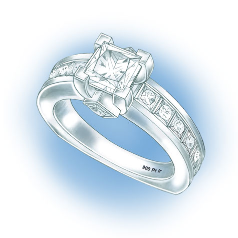 Perspective view of a princess cut solitaire with diamonds set in the shank. The hallmark for 90% Platinum Iridium, 900 Pt Ir, is visible in the lower inside of the shank.