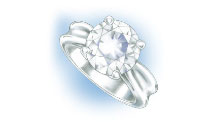Evaluate the quality of the setting of a ring with platinum prongs