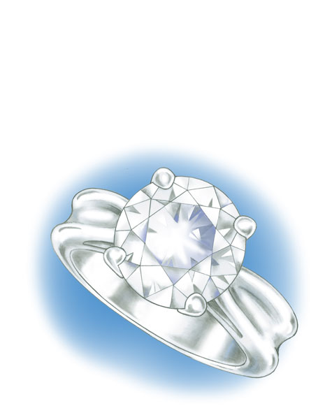 Close-up perspective view of a four prong, platinum solitaire with a round centre stone