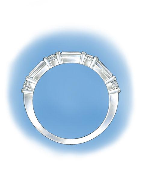 槽镶圆形和小长方钻石的铂金戒环的侧面图
