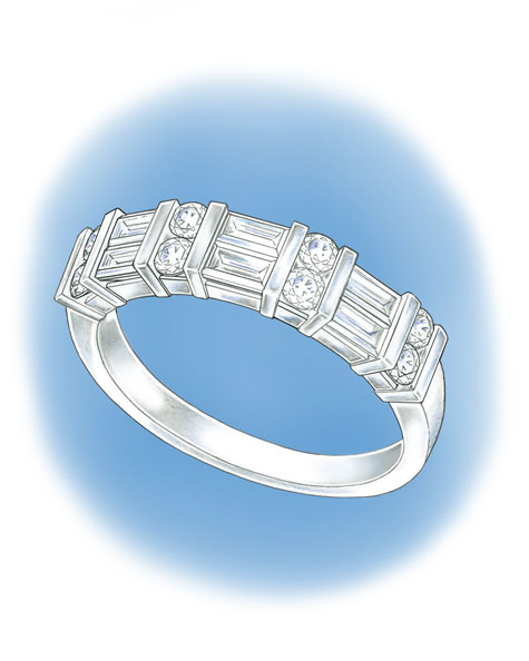 Perspective view of a platinum band channel-set with round and baguette diamonds.