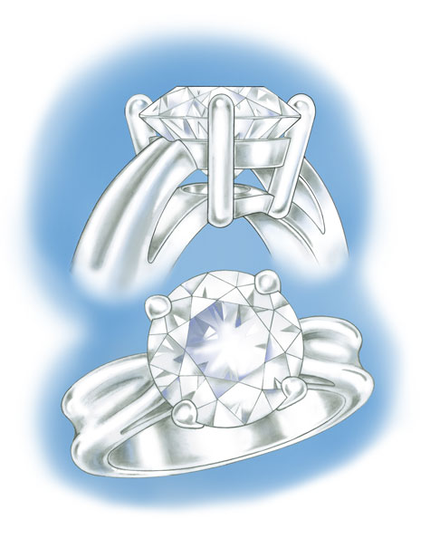 Side and perspective views of a four-prong, platinum solitaire
