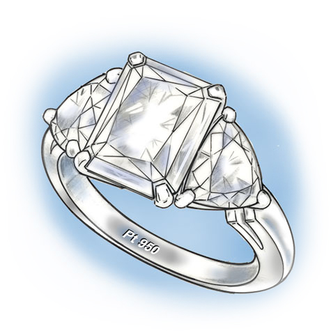 Perspective view of a three-stone platinum ring with a cushion-shaped center stone flanked by two trillion-cut stones. The PT 950 stamp is readable inside the bottom of the shank.