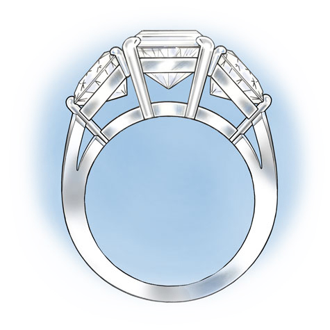 Side view of a three-stone platinum ring with a cushion-shaped center stone flanked by two trillion-cut stones