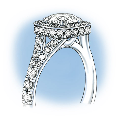 Perspective view of a platinum ring with a halo setting, featuring a split shank set with diamonds