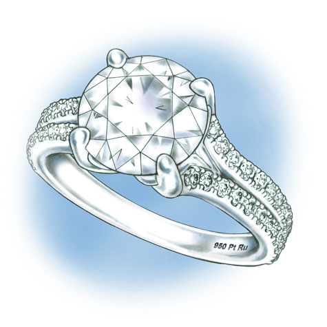 Perspective view of a platinum solitaire, featuring a split shank set with diamonds
