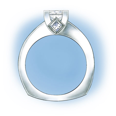 Side view of a platinum princess-cut solitaire