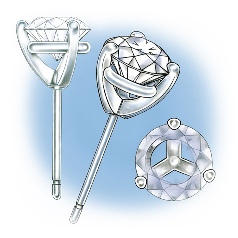 Three illustrations  featuring platinum, three-prong solitaire earrings