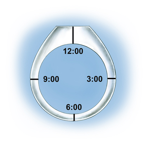 Close-up views highlighting the height and depth dimensions of a platinum band, including an illustration depicting clock locations (12:00, 3:00, 6:00 and 9:00)