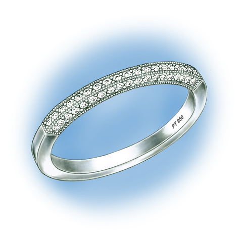Perspective view of a platinum ring with diamonds set in the shank