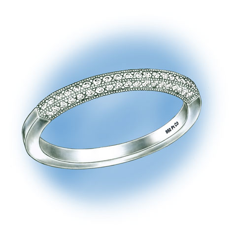 Perspective view of a platinum band with diamonds. The hallmark for 95% Platinum Cobalt, 950 Pt Co, is visible in the lower inside of the shank.