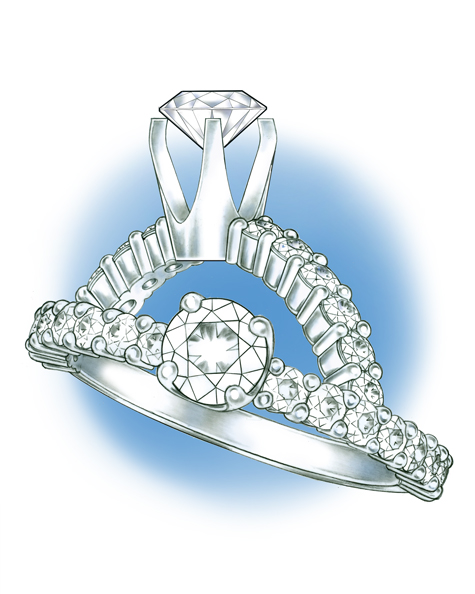 Perspective view of a platinum solitaire with diamonds set in the shank. This same ring is also shown in a side view, with the loose diamond positioned above the mounting.