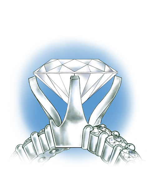 Close-up side view of the platinum solitaire, with the loose stone positioned above the mounting.