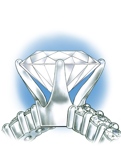 Close-up side view of the platinum solitaire, with the loose stone set into the too-small setting.