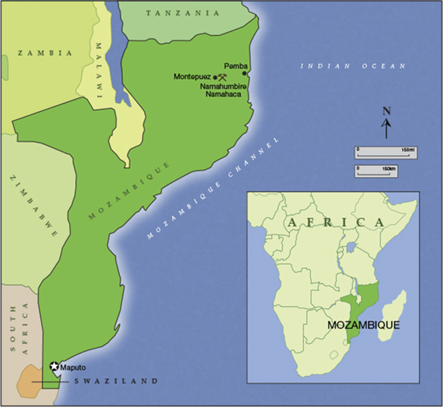 Mozambique, southeastern Africa, map
