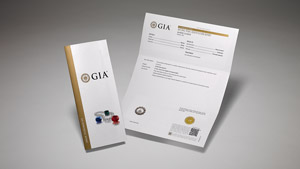GIA Pearl Identification Report with main components of the report on display, and colored stones and pearls on the front cover.