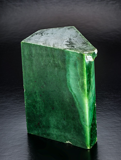 Siberian green nephrite rough with intense color