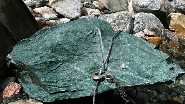 Five-ton green nephrite boulder from Siberia