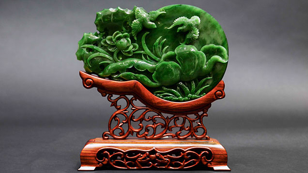 Jade carving with lotus flowers and birds