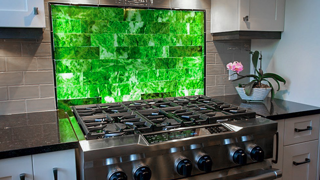 Nephrite tiles used as a kitchen backsplash