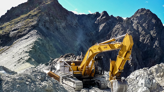 Heavy equipment is needed to mine primary deposits in British Columbia