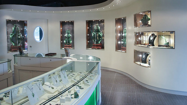 Interior view of a jade jewelry retail store