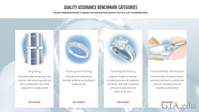 QABのページのスクリーンショットでは、QABの4つのカテゴリーとそれぞれのカテゴリーを代表する画像が表示されている。画像として、リングのサイズ直しには芯金棒にはめられたリング、仕上げと研磨にはプリンセスカットとラウンドカットのダイヤモンドが飾られたリング、組み立てとセッティングには婚約指輪が使用されている。