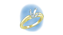 Learn how to evaluate the quality of a platinum ruthenium peg setting installation into a 14K yellow gold mounting with these helpful illustrations and instructional video