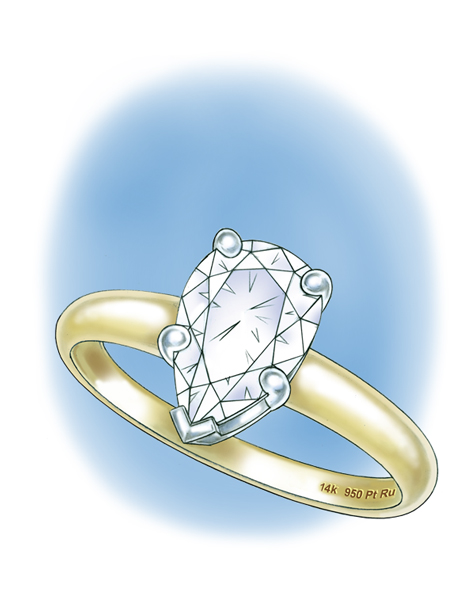 Perspective view illustration of a pear-shaped center stone set in a five-prong platinum setting.