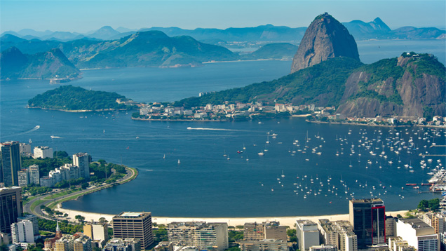 From The Mirador This Iconic Vista Of City Rio De Janeiro Encompasses Picturesque Bays And Inslets Surrounded By Inselbergs Or Mountains That Jut