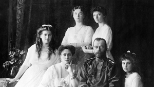 Members of the Romanovs, the last imperial family of Russia, in 1914. Seated (left to right) Grand Duchess Marie, Empress Alexandra, Nicholas II, Grand Duchess Anastasia, Grand Duke Alexei (front), and standing (left to right), Grand Duchess Olga and Grand Duchess Tatiana. Source: Library of Congress