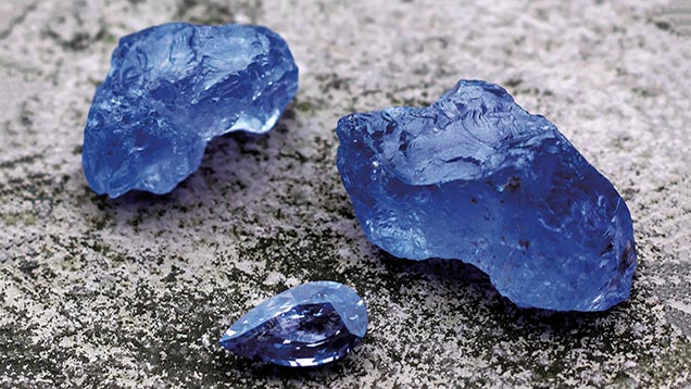 Rough blue spinel crystals from Luc Yen