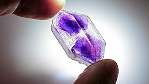 Color zoning in amethyst from Boudi, Morocco