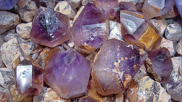 Amethysts extracted from piles
