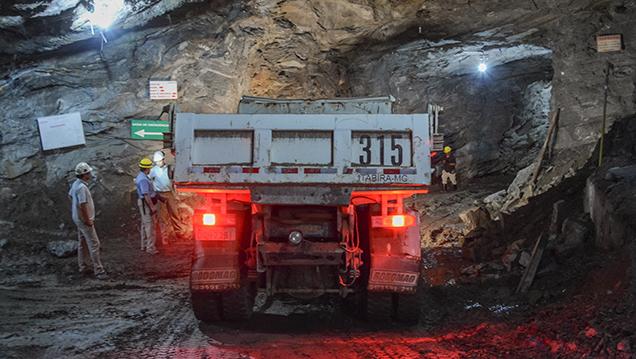 Truck at Belmont's underground mine