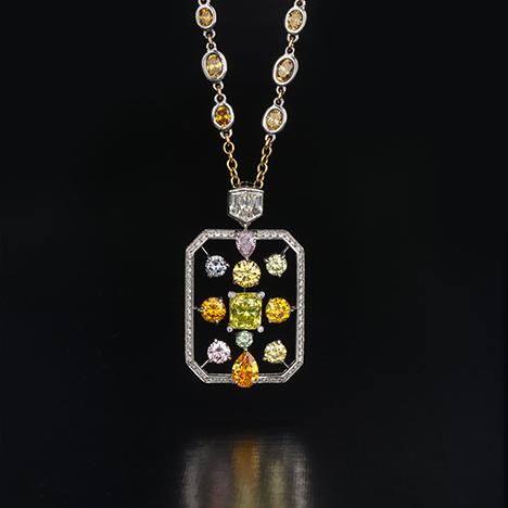 Diamond and platinum pendant