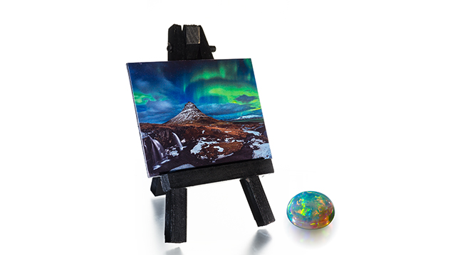 Opal and image on easel