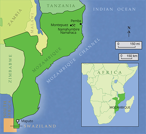 africa map mozambique channel