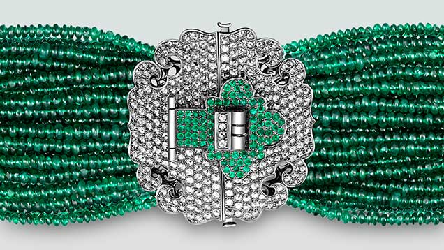 "Diamond and emerald ""lock"" bracelet"