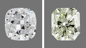two large synthetic diamonds