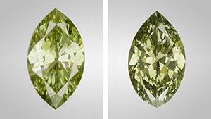 Color-treated chameleon diamonds
