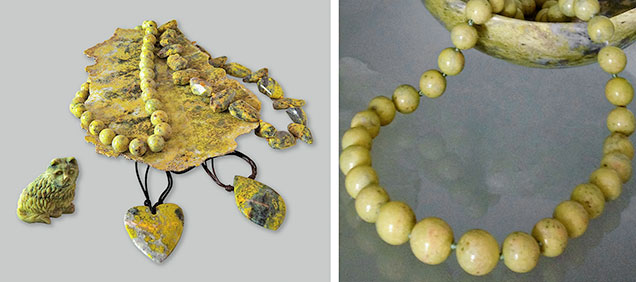 Necklaces, pendants, statuette, and slab of serpentine