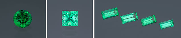 Various styles of precision-cut emeralds