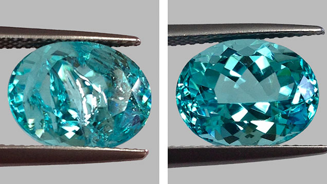 Paraíba tourmaline fissure before and after treatment