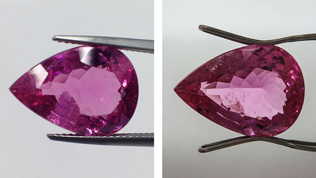 Rubellite fissure before and after treatment